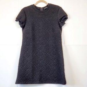 ZARA Woman Black Embossed T Shirt Dress Size: L